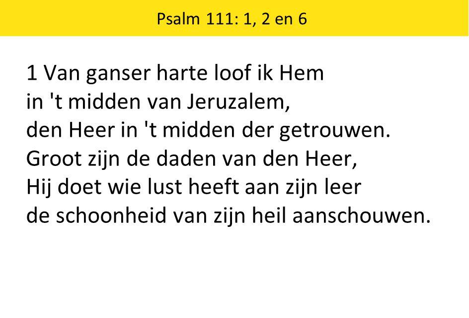 Psalm 111: 1, 2 en 6 1 Van ganser harte loof ik Hem in 't midden van Jeruzalem, den Heer in 't midden der getrouwen. Groot zijn de daden van den Heer,