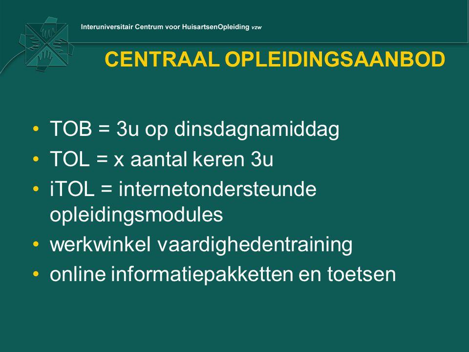 CENTRAAL OPLEIDINGSAANBOD TOB = 3u op dinsdagnamiddag TOL = x aantal keren 3u iTOL = internetondersteunde opleidingsmodules werkwinkel vaardighedentraining online informatiepakketten en toetsen