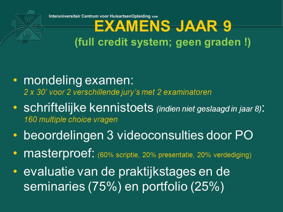 EXAMENS JAAR 9 (full credit system; geen graden !) mondeling examen: 2 x 30' voor 2 verschillende jury's met 2 examinatoren schriftelijke kennistoets (indien niet geslaagd in jaar 8) : 160 multiple choice vragen beoordelingen 3 videoconsulties door PO masterproef: (60% scriptie, 20% presentatie, 20% verdediging) evaluatie van de praktijkstages en de seminaries (75%) en portfolio (25%)