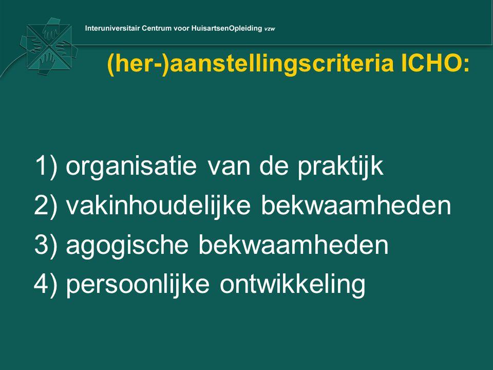 (her-)aanstellingscriteria ICHO: 1) organisatie van de praktijk 2) vakinhoudelijke bekwaamheden 3) agogische bekwaamheden 4) persoonlijke ontwikkeling