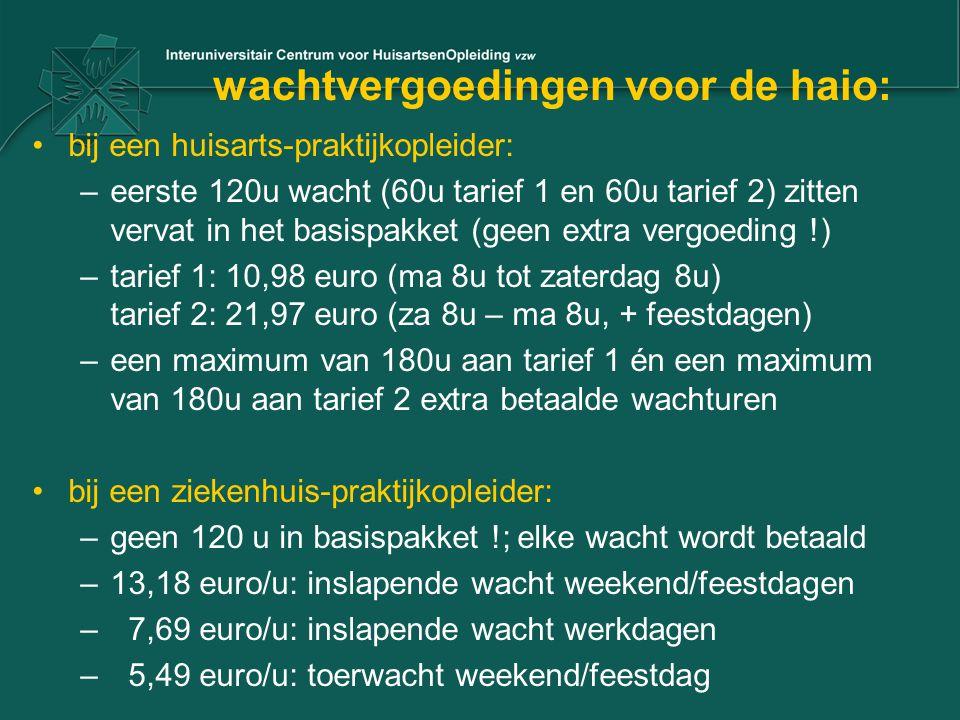 wachtvergoedingen voor de haio: bij een huisarts-praktijkopleider: –eerste 120u wacht (60u tarief 1 en 60u tarief 2) zitten vervat in het basispakket (geen extra vergoeding !) –tarief 1: 10,98 euro (ma 8u tot zaterdag 8u) tarief 2: 21,97 euro (za 8u – ma 8u, + feestdagen) –een maximum van 180u aan tarief 1 én een maximum van 180u aan tarief 2 extra betaalde wachturen bij een ziekenhuis-praktijkopleider: –geen 120 u in basispakket !; elke wacht wordt betaald –13,18 euro/u: inslapende wacht weekend/feestdagen – 7,69 euro/u: inslapende wacht werkdagen – 5,49 euro/u: toerwacht weekend/feestdag