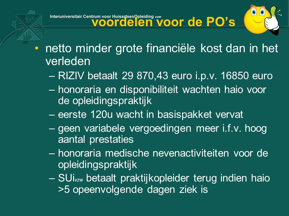voordelen voor de PO's netto minder grote financiële kost dan in het verleden –RIZIV betaalt 29 870,43 euro i.p.v.