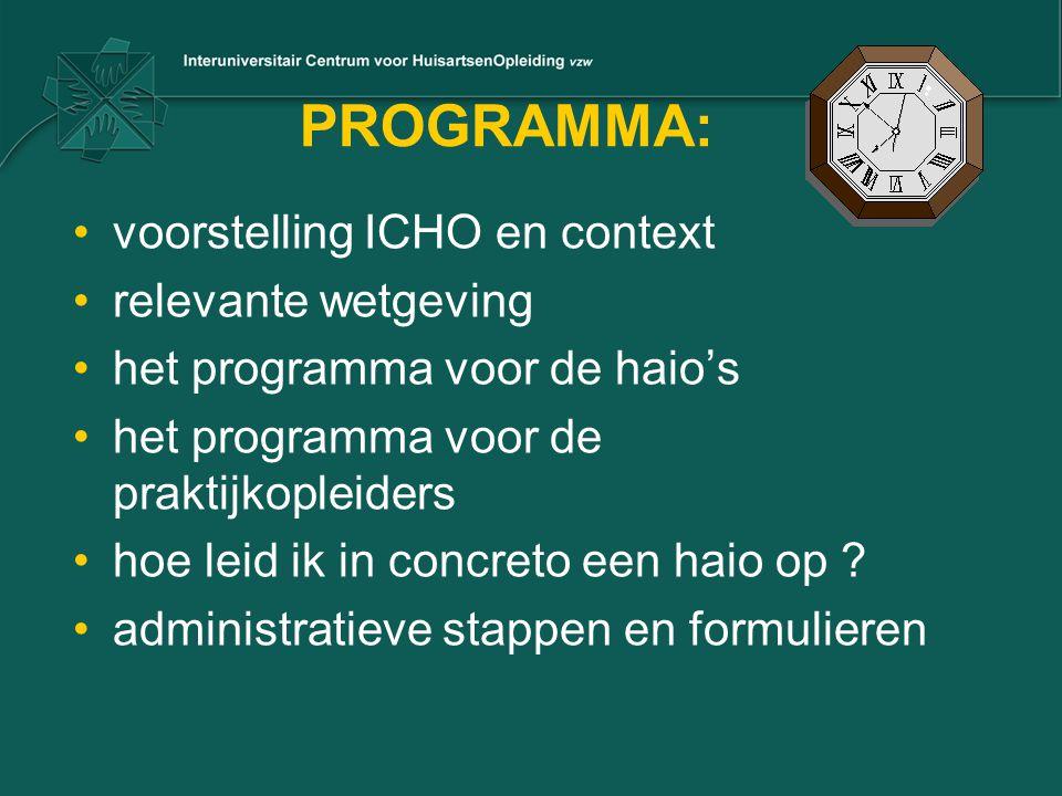 PROGRAMMA: voorstelling ICHO en context relevante wetgeving het programma voor de haio's het programma voor de praktijkopleiders hoe leid ik in concreto een haio op .