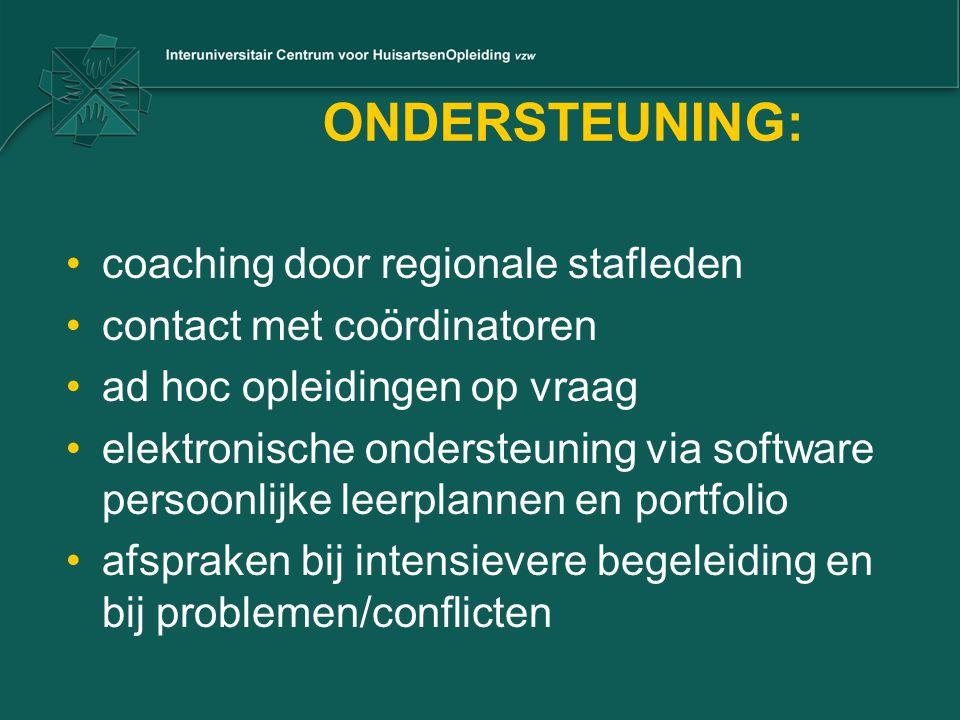 ONDERSTEUNING: coaching door regionale stafleden contact met coördinatoren ad hoc opleidingen op vraag elektronische ondersteuning via software persoonlijke leerplannen en portfolio afspraken bij intensievere begeleiding en bij problemen/conflicten