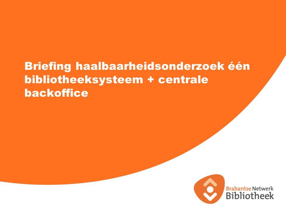Agenda 1.Opening/Welkom 2.Voorstelronde 3.Opdrachtgever/organisatie bibliotheekwerk in Brabant 4.Huidige infrastructuur 5.Voorbeeld: zoek&boek en Brabantwijzer 6.Opdracht 7.Planning 8.Mogelijkheid tot stellen van vragen 9.Documentatie 24 november 2014 2