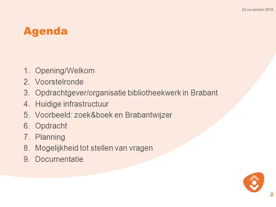 Agenda 1.Opening/Welkom 2.Voorstelronde 3.Opdrachtgever/organisatie bibliotheekwerk in Brabant 4.Huidige infrastructuur 5.Voorbeeld: zoek&boek en Brab