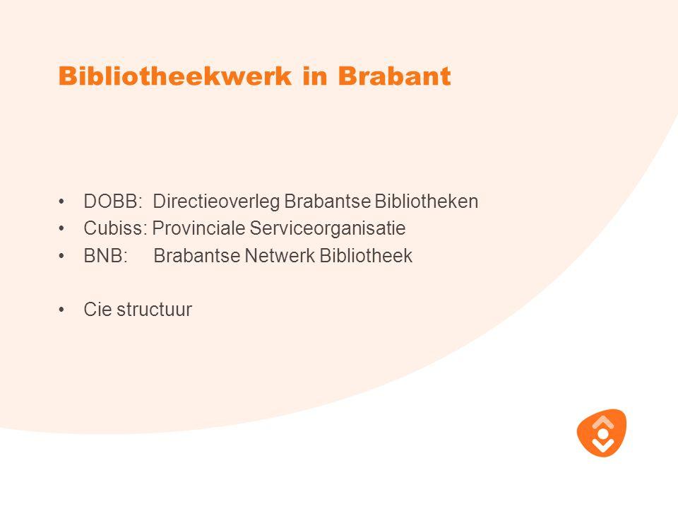 Bibliotheekwerk in Brabant DOBB: Directieoverleg Brabantse Bibliotheken Cubiss: Provinciale Serviceorganisatie BNB: Brabantse Netwerk Bibliotheek Cie