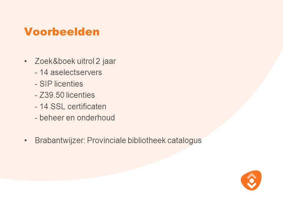 Voorbeelden Zoek&boek uitrol 2 jaar - 14 aselectservers - SIP licenties - Z39.50 licenties - 14 SSL certificaten - beheer en onderhoud Brabantwijzer: