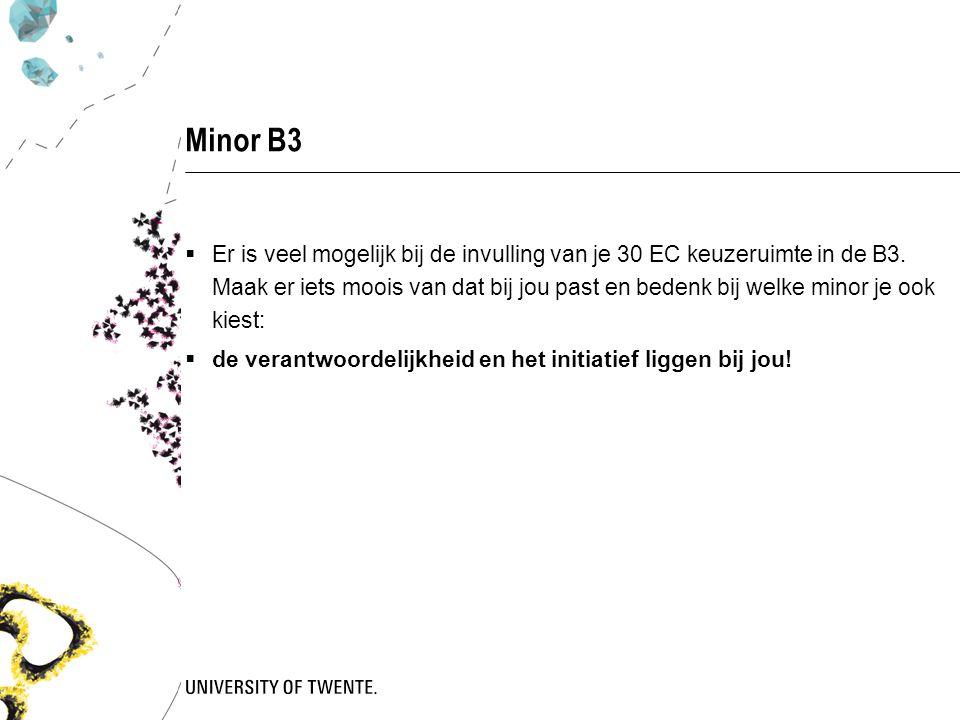 Minor B3  Er is veel mogelijk bij de invulling van je 30 EC keuzeruimte in de B3.