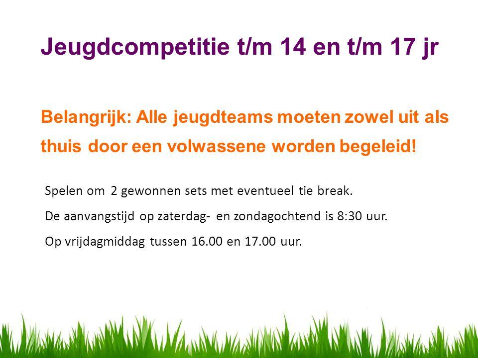 Jeugdcompetitie t/m 14 en t/m 17 jr Belangrijk: Alle jeugdteams moeten zowel uit als thuis door een volwassene worden begeleid.