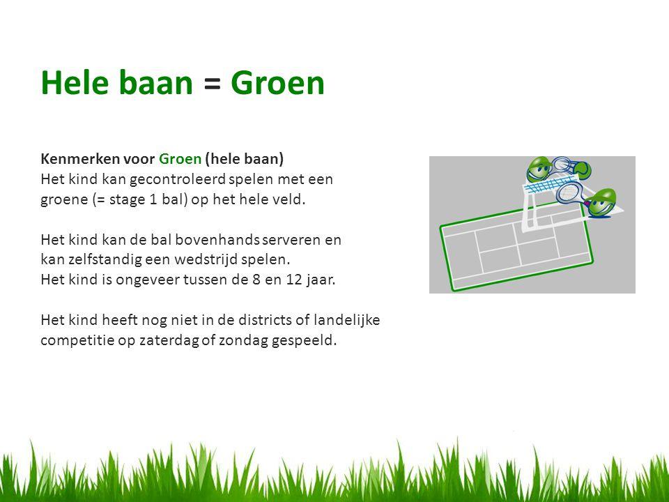 Kenmerken voor Groen (hele baan) Het kind kan gecontroleerd spelen met een groene (= stage 1 bal) op het hele veld.