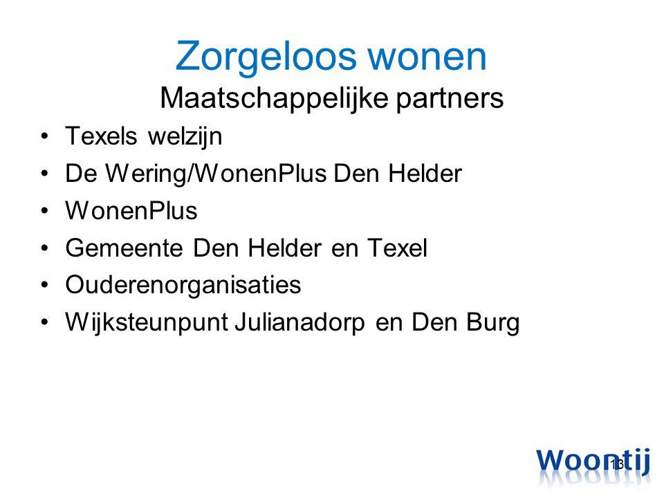 Zorgeloos wonen Maatschappelijke partners Texels welzijn De Wering/WonenPlus Den Helder WonenPlus Gemeente Den Helder en Texel Ouderenorganisaties Wij