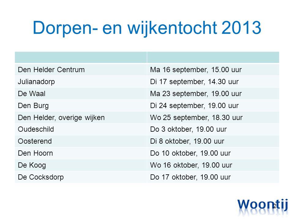 Dorpen- en wijkentocht 2013 Den Helder CentrumMa 16 september, 15.00 uur JulianadorpDi 17 september, 14.30 uur De WaalMa 23 september, 19.00 uur Den B