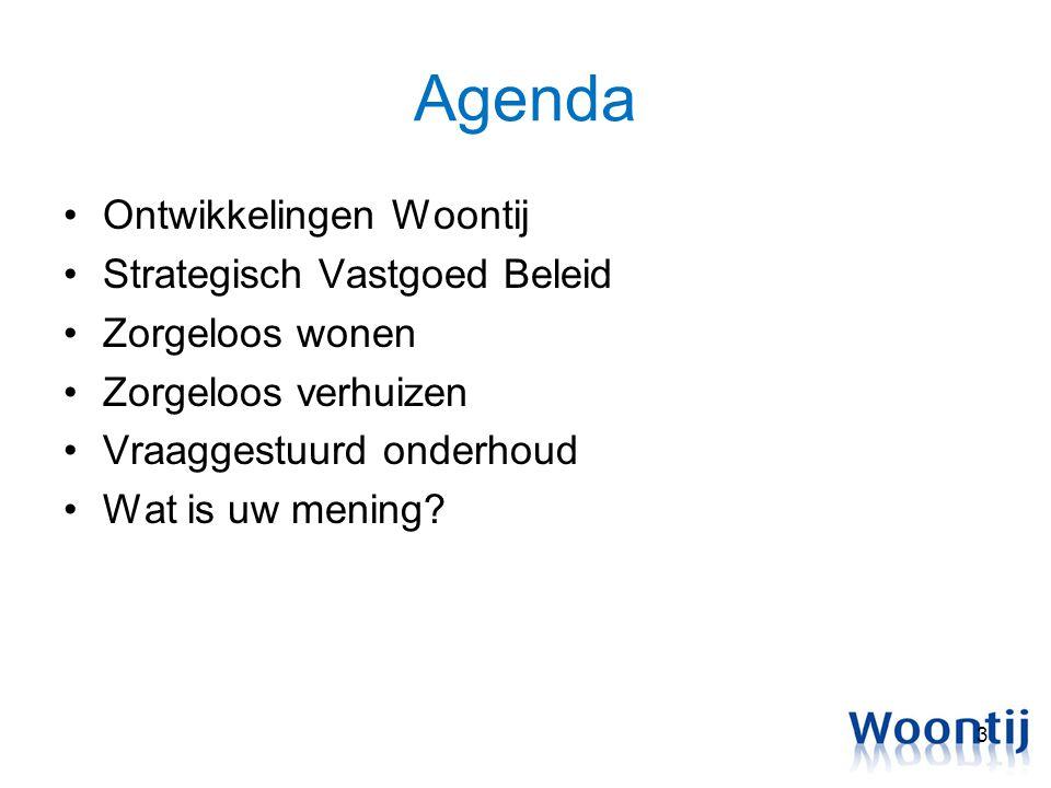Agenda Ontwikkelingen Woontij Strategisch Vastgoed Beleid Zorgeloos wonen Zorgeloos verhuizen Vraaggestuurd onderhoud Wat is uw mening? 3