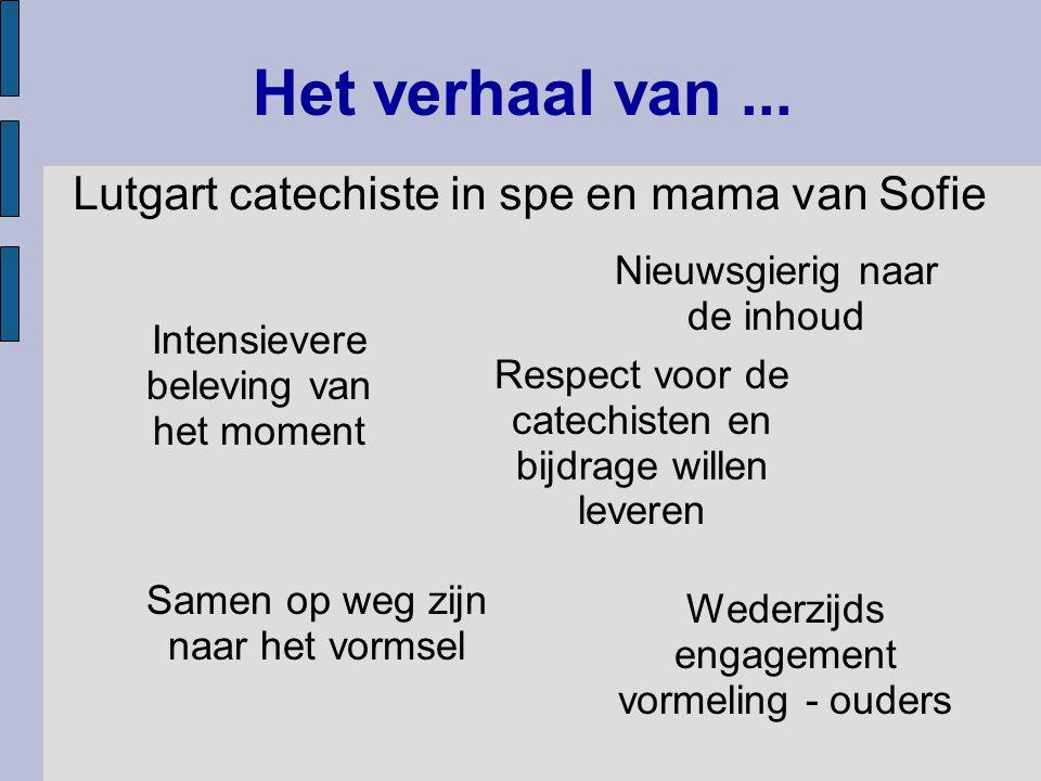 Het verhaal van... Lutgart catechiste in spe en mama van Sofie Samen op weg zijn naar het vormsel Respect voor de catechisten en bijdrage willen lever