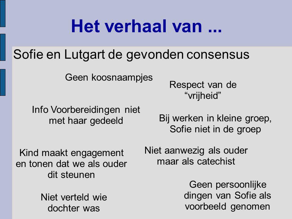 """Het verhaal van... Sofie en Lutgart de gevonden consensus Niet aanwezig als ouder maar als catechist Geen koosnaampjes Respect van de """"vrijheid"""" Bij w"""