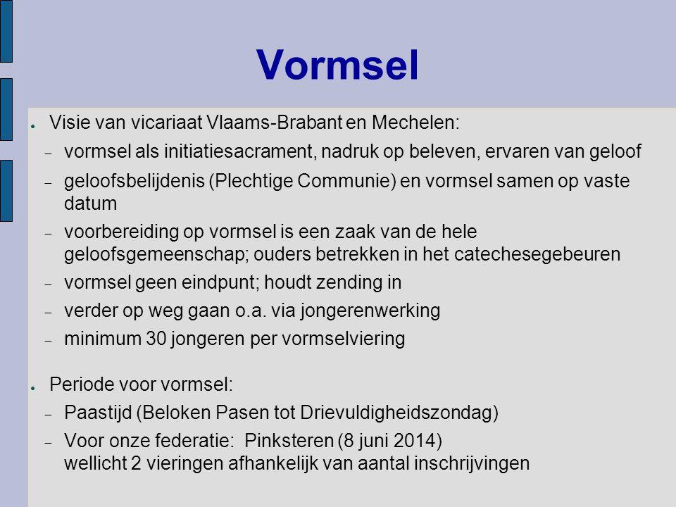 Vormsel ● Visie van vicariaat Vlaams-Brabant en Mechelen:  vormsel als initiatiesacrament, nadruk op beleven, ervaren van geloof  geloofsbelijdenis