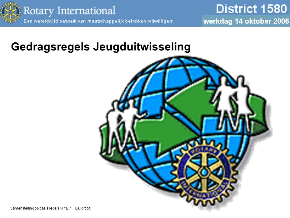 werkdag 14 oktober 2006 Gedragsregels Jeugduitwisseling Samenstelling op basis regels RI YEP j.a.