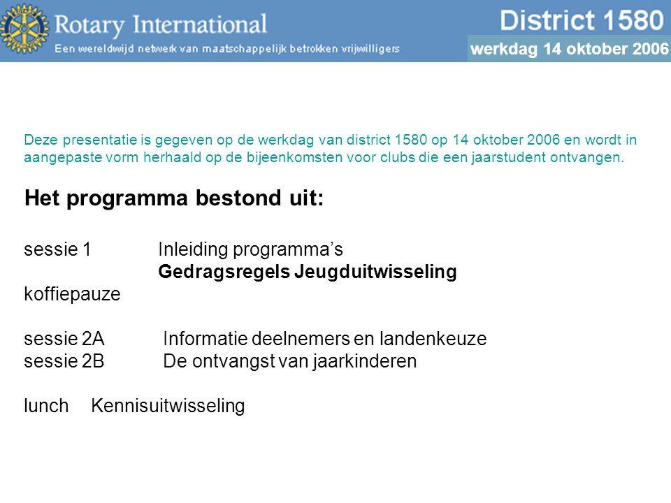 werkdag 14 oktober 2006 Voor betrokken volwassenen o Begripsomschrijvingen o Functies o Code o Rapportage o En dan...