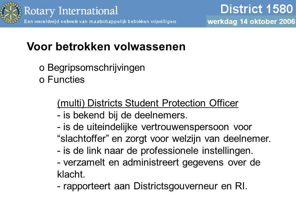 werkdag 14 oktober 2006 Voor betrokken volwassenen o Begripsomschrijvingen o Functies (multi) Districts Student Protection Officer - is bekend bij de deelnemers.