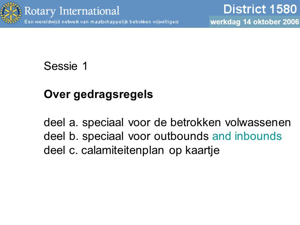 werkdag 14 oktober 2006 Sessie 1 Over gedragsregels deel a.