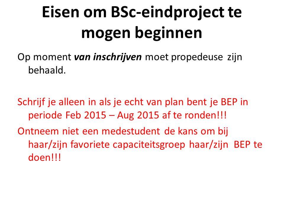Eisen om BSc-eindproject te mogen beginnen Op moment van inschrijven moet propedeuse zijn behaald.