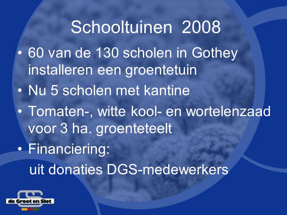 Schooltuinen 2008 60 van de 130 scholen in Gothey installeren een groentetuin Nu 5 scholen met kantine Tomaten-, witte kool- en wortelenzaad voor 3 ha