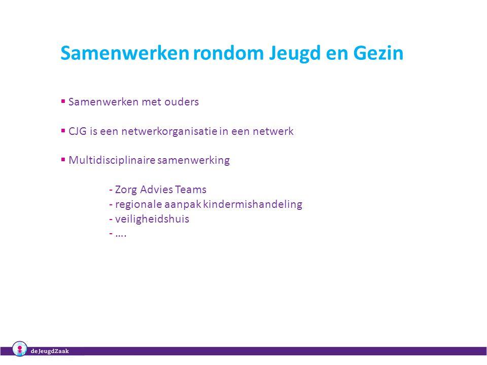 Samenwerken rondom Jeugd en Gezin  Samenwerken met ouders  CJG is een netwerkorganisatie in een netwerk  Multidisciplinaire samenwerking - Zorg Advies Teams - regionale aanpak kindermishandeling - veiligheidshuis - ….