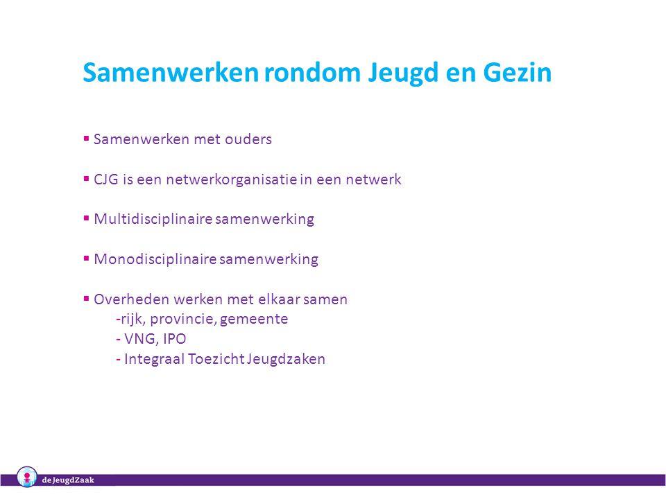 Samenwerken rondom Jeugd en Gezin  Samenwerken met ouders  CJG is een netwerkorganisatie in een netwerk  Multidisciplinaire samenwerking  Monodisc