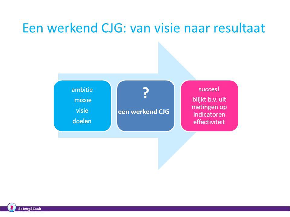 3 ambitie missie visie doelen ? succes! blijkt b.v. uit metingen op indicatoren effectiviteit een werkend CJG Een werkend CJG: van visie naar resultaa