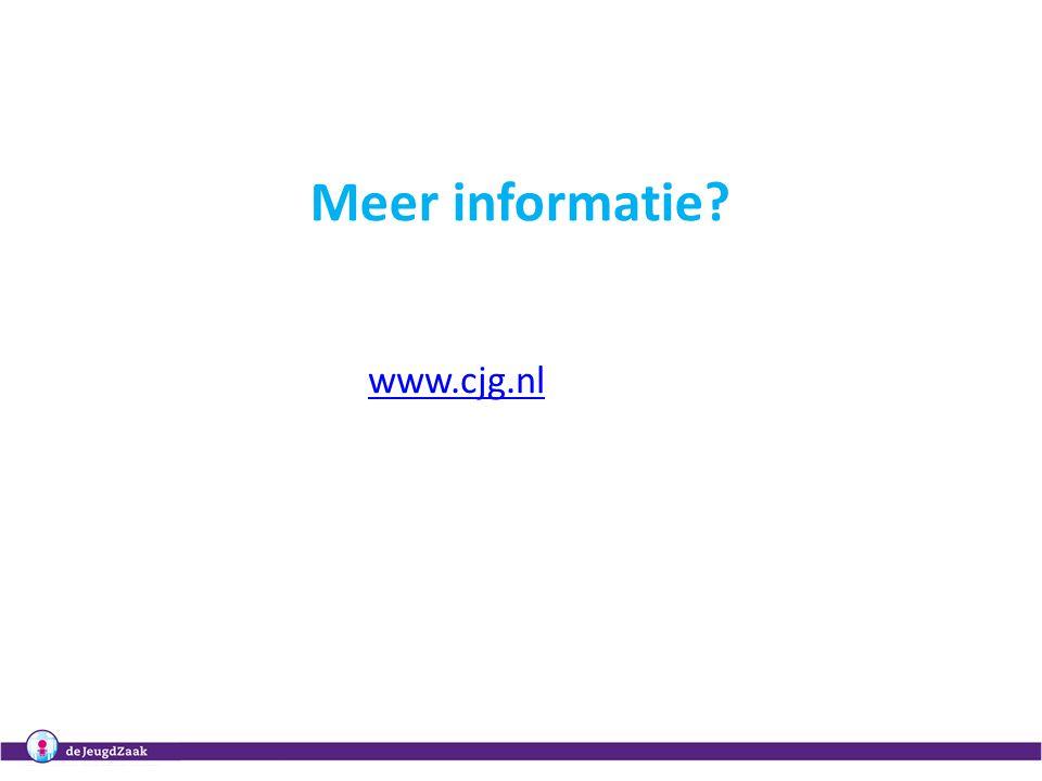 """307, 14, 19, 28 oktober 2010Regionale masterclasses """"Het organiseren van samenwerking in het CJG"""" Meer informatie? www.cjg.nl"""