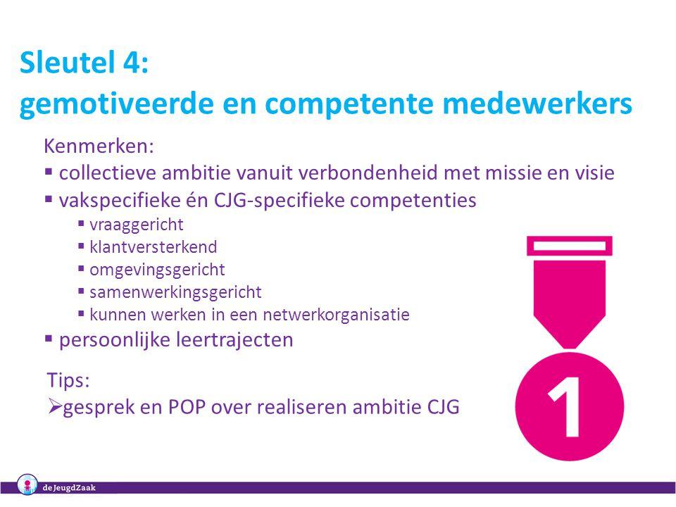 8 Sleutel 4: gemotiveerde en competente medewerkers Kenmerken:  collectieve ambitie vanuit verbondenheid met missie en visie  vakspecifieke én CJG-s