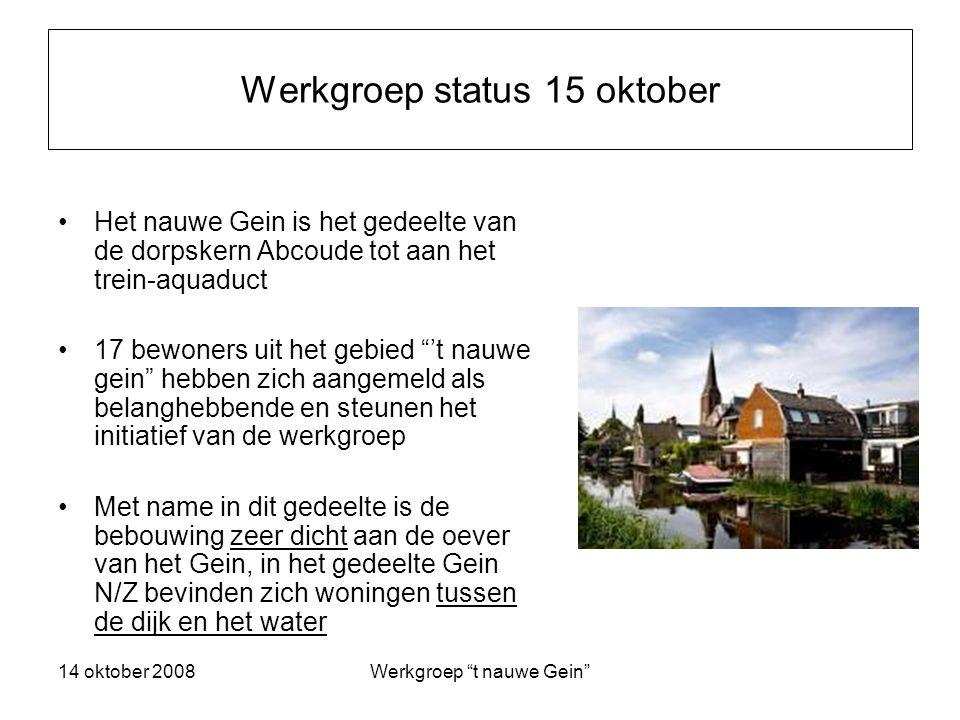 14 oktober 2008Werkgroep t nauwe Gein Conclusie Het is noodzaak tot een goede oplossing te komen die ons allen past Hiervoor heeft Waternet/AGV medewerking nodig van de belanghebbenden in dit gebied Communicatie is essentieel!