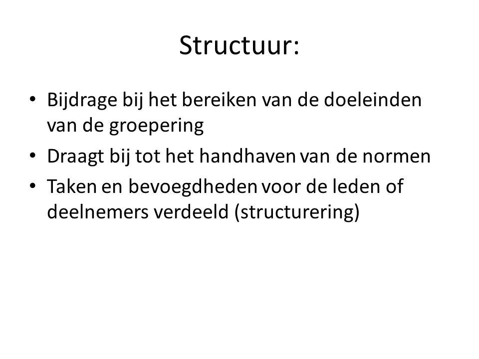 Structuur: Bijdrage bij het bereiken van de doeleinden van de groepering Draagt bij tot het handhaven van de normen Taken en bevoegdheden voor de leden of deelnemers verdeeld (structurering)