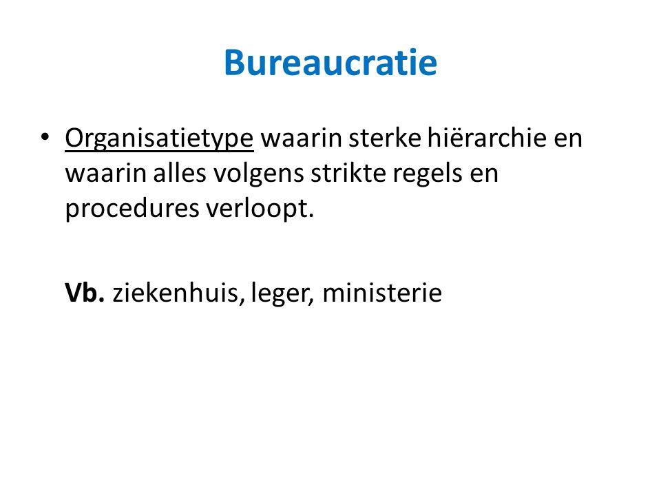 Bureaucratie Organisatietype waarin sterke hiërarchie en waarin alles volgens strikte regels en procedures verloopt. Vb. ziekenhuis, leger, ministerie