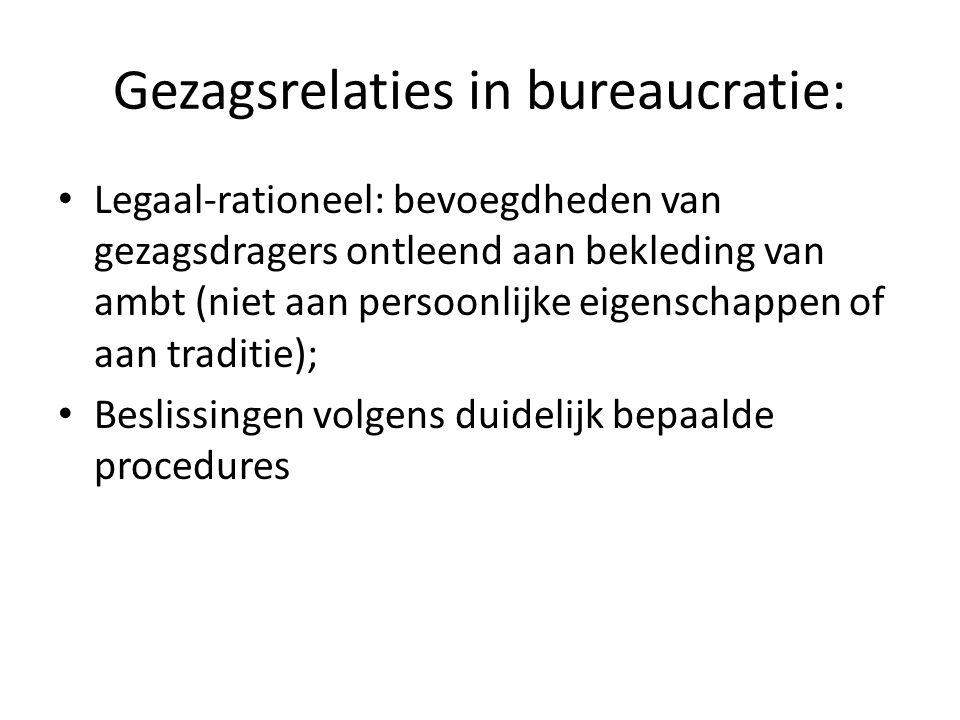 Gezagsrelaties in bureaucratie: Legaal-rationeel: bevoegdheden van gezagsdragers ontleend aan bekleding van ambt (niet aan persoonlijke eigenschappen of aan traditie); Beslissingen volgens duidelijk bepaalde procedures