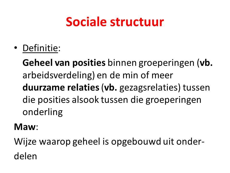 Sociale structuur Definitie: Geheel van posities binnen groeperingen (vb. arbeidsverdeling) en de min of meer duurzame relaties (vb. gezagsrelaties) t