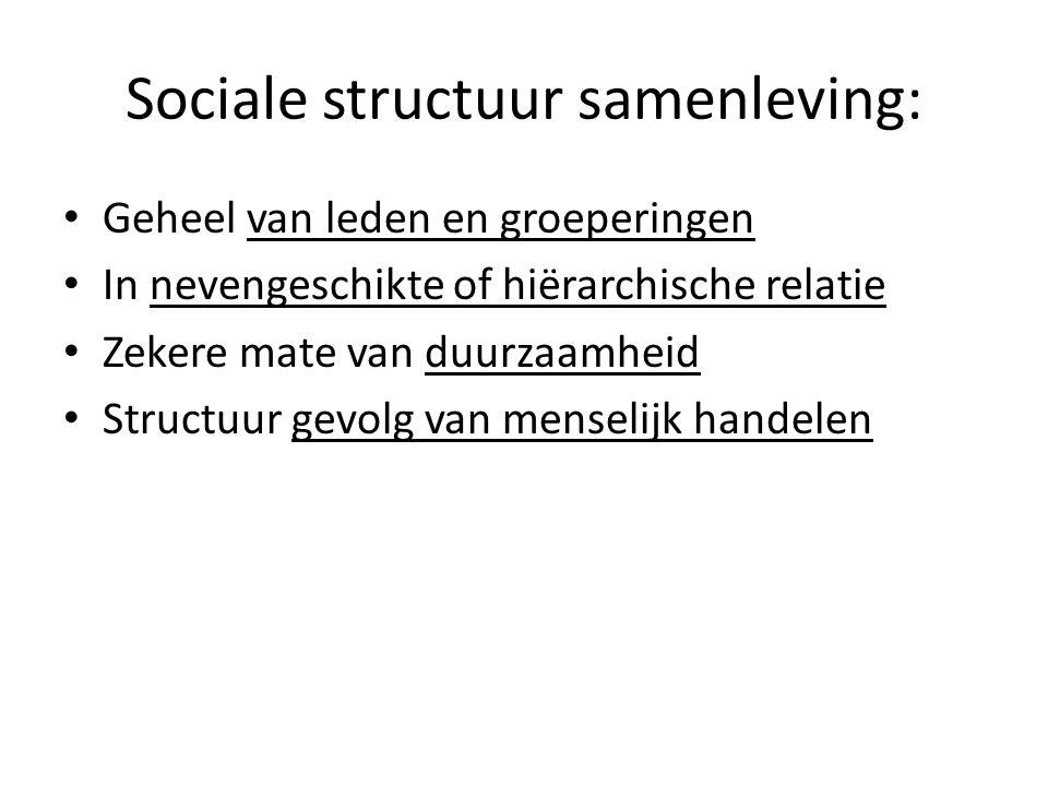 Sociale structuur samenleving: Geheel van leden en groeperingen In nevengeschikte of hiërarchische relatie Zekere mate van duurzaamheid Structuur gevolg van menselijk handelen