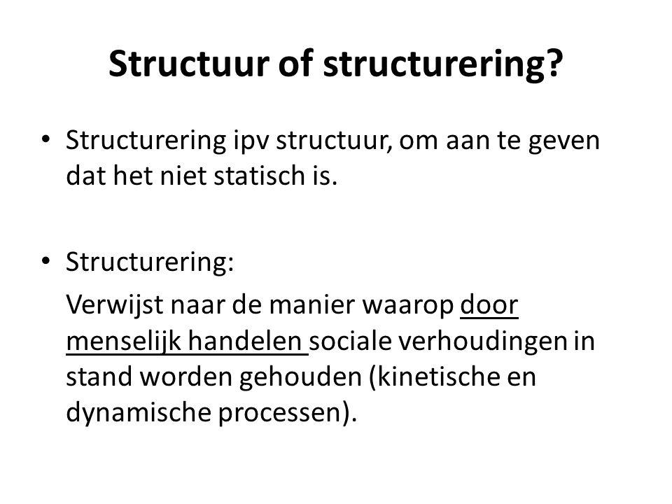 Opmerkingen mbt structuur: Altijd waarden, normen en doeleinden aan structuur ten grondslag (relatie met cultuur) Element van dwang aanwezig Structuren zorgen niet alleen maar voor mogelijkheden tot handelen, maar ook voor beperkingen in het handelen.