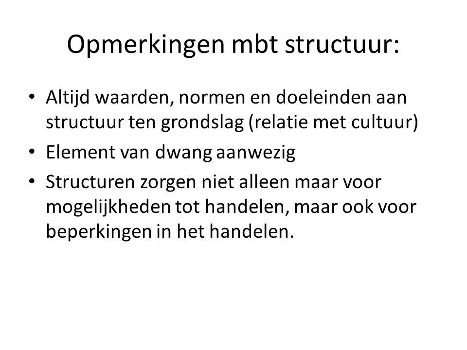 Opmerkingen mbt structuur: Altijd waarden, normen en doeleinden aan structuur ten grondslag (relatie met cultuur) Element van dwang aanwezig Structure