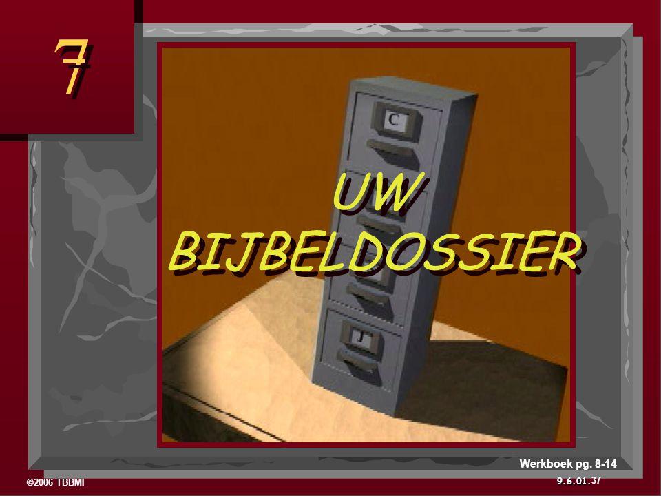 ©2006 TBBMI 9.6.01. 7 7 UW BIJBELDOSSIER 37 Werkboek pg. 8-14