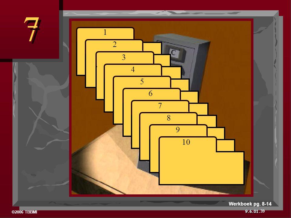 ©2006 TBBMI 9.6.01. 7 7 1 2 3 4 5 6 7 8 9 10 39 Werkboek pg. 8-14