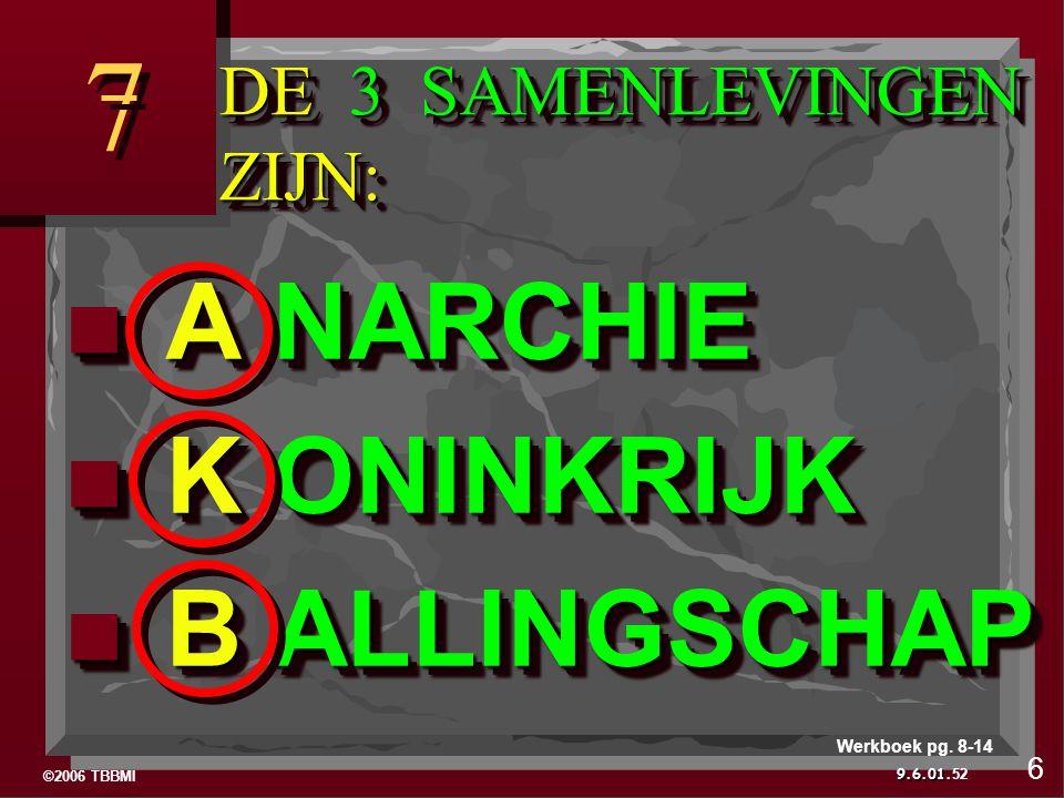 ©2006 TBBMI 9.6.01. DE 3 SAMENLEVINGEN ZIJN: 7 7 52 6 Werkboek pg.