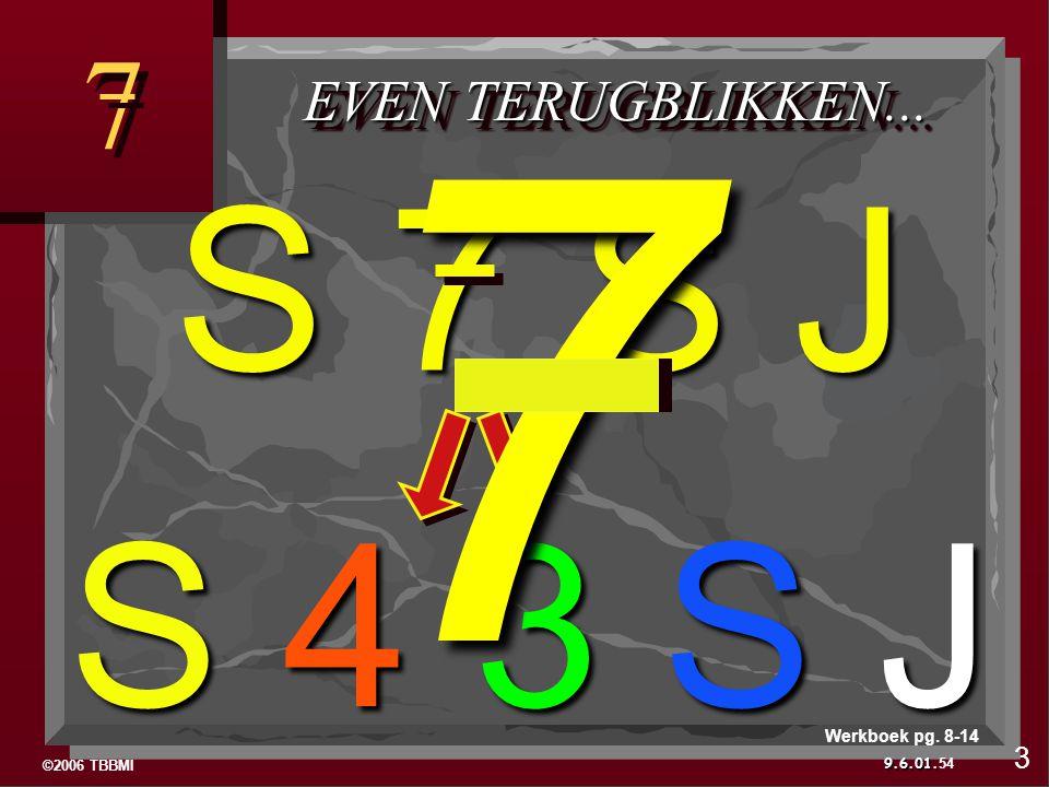 ©2006 TBBMI 9.6.01. 7 7 EVEN TERUGBLIKKEN... S 4 3 S J 54 3 Werkboek pg. 8-14 S 7 S J 7