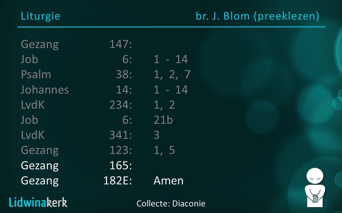 Liturgiebr. J. Blom (preeklezen) Collecte: Diaconie Gezang147: Job6:1 - 14 Psalm38:1, 2, 7 Johannes14:1 - 14 LvdK234:1, 2 Job6:21b LvdK341:3 Gezang123