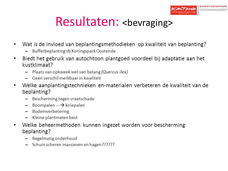 Resultaten: Wat is de invloed van beplantingsmethodieken op kwaliteit van beplanting? – Bufferbeplanting vb Koningspark Oostende Biedt het gebruik van