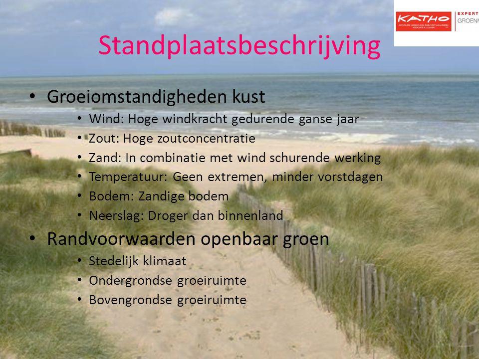 Standplaatsbeschrijving Groeiomstandigheden kust Wind: Hoge windkracht gedurende ganse jaar Zout: Hoge zoutconcentratie Zand: In combinatie met wind s