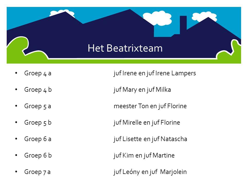 Het Beatrixteam Groep 7 bjuf Anouk en juf Marjolein Groep 8 ameester Erik en juf Leóny Groep 8 b juf Loekie en juf Lieke Vakleerkracht gymjuf Carlijn Administratiejuf Karin ConciërgeJerry