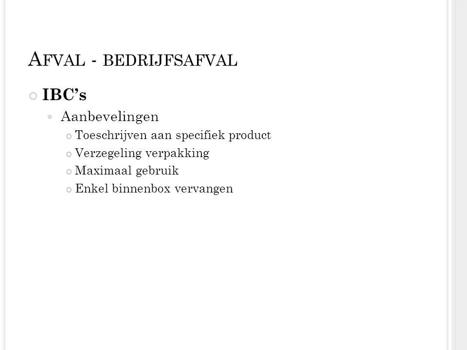 A FVAL - BEDRIJFSAFVAL IBC's Aanbevelingen Toeschrijven aan specifiek product Verzegeling verpakking Maximaal gebruik Enkel binnenbox vervangen