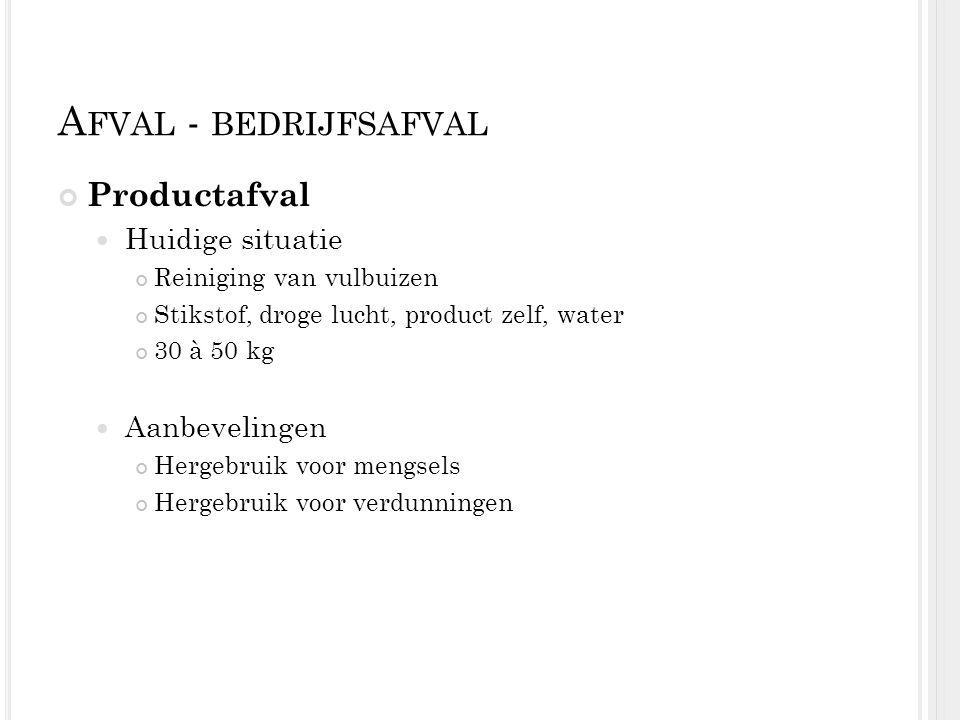 A FVAL - BEDRIJFSAFVAL Productafval Huidige situatie Reiniging van vulbuizen Stikstof, droge lucht, product zelf, water 30 à 50 kg Aanbevelingen Herge